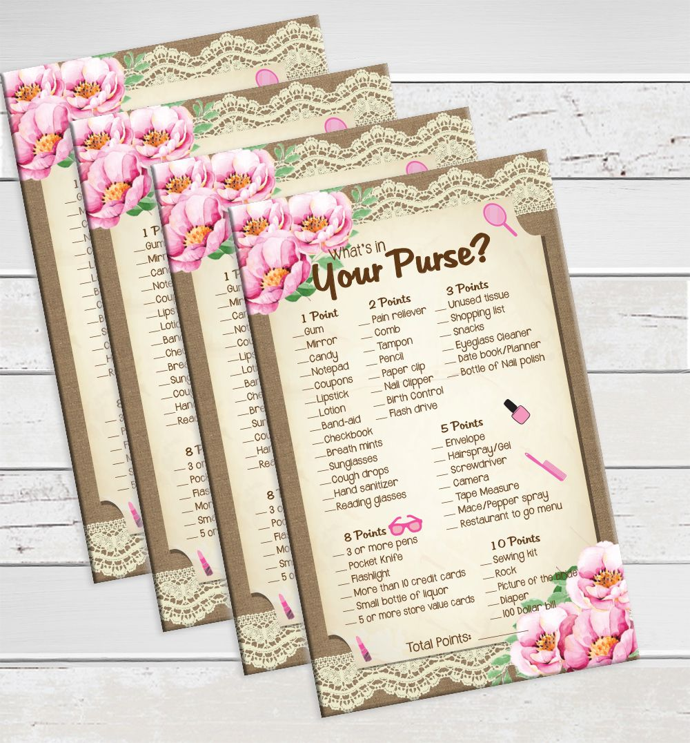 Bridal Shower Game, Whats in your Purse, Wedding Shower Game ...