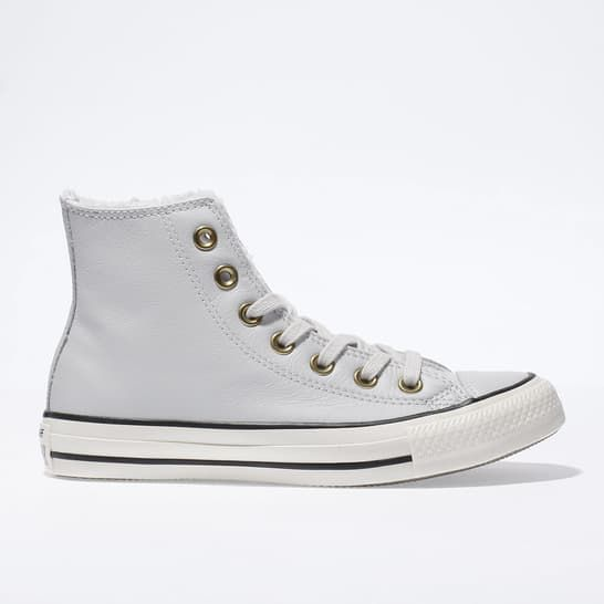 womens light grey converse leather faux fur lined hi