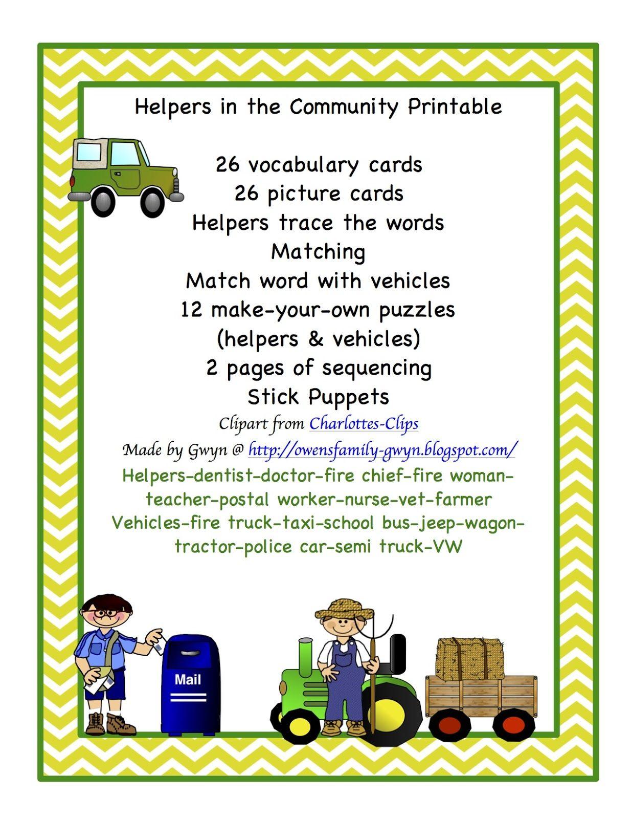 Preschool Printables Helpers In The Community Printable