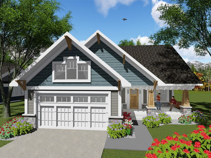 020h 0401 Small Empty Nester House Plan 2 Bedrooms 1 Bath 1047 Sf Craftsman Style House Plans Craftsman Cottage Craftsman House