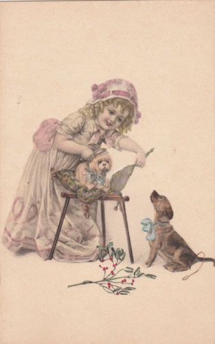 Beautiful-Little-Girl-Brushing-Dog-DOGS-Tinted-Postcard-F-429