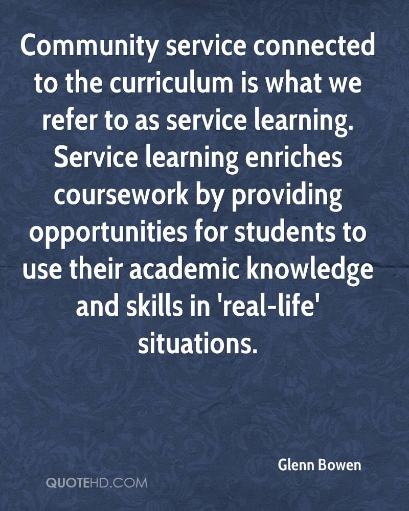 Quotes About Community Service Glenn Bowen Quotes  Service Learning Center  Pinterest