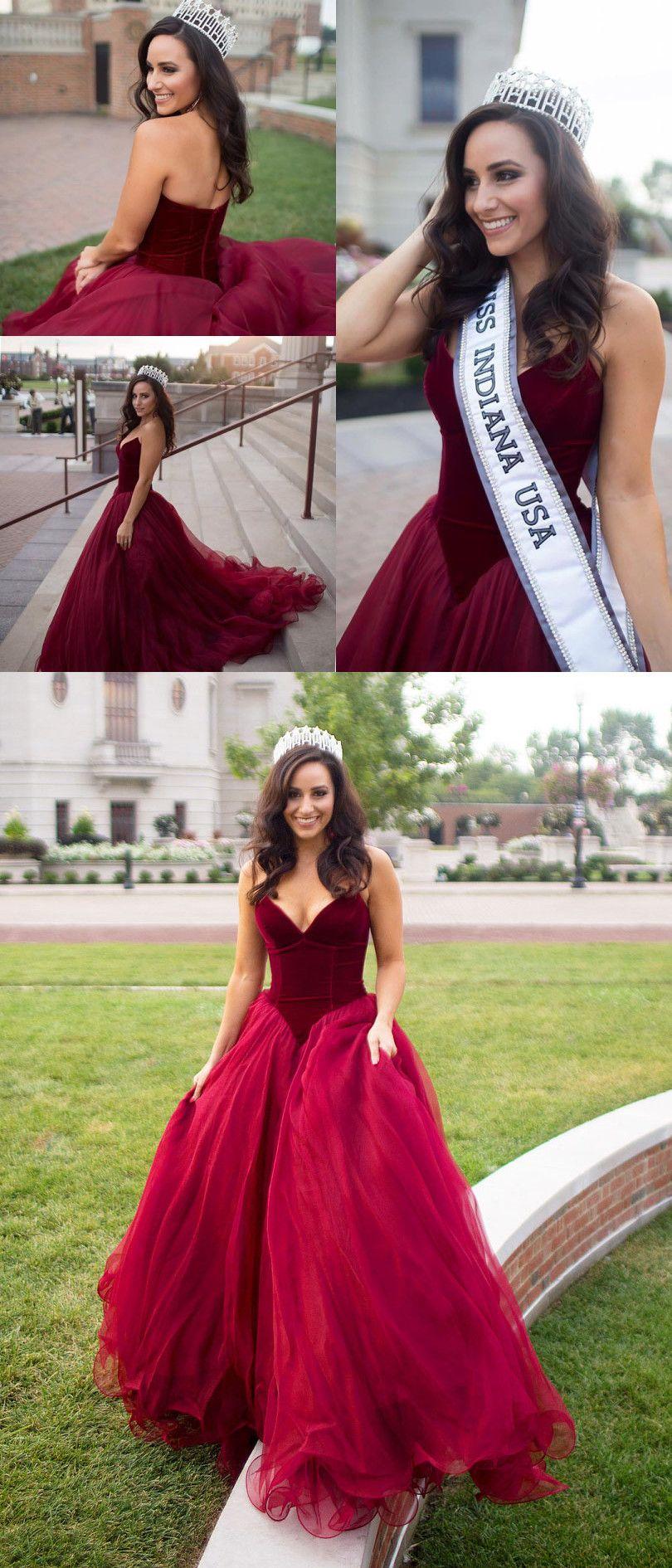 Burgundy velvet prom dress long prom dress strapless burgundy