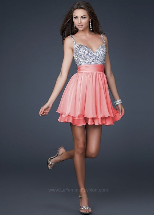 La Femme 16813 - Coral Short Beaded Prom Dresses Online | We Heart ...
