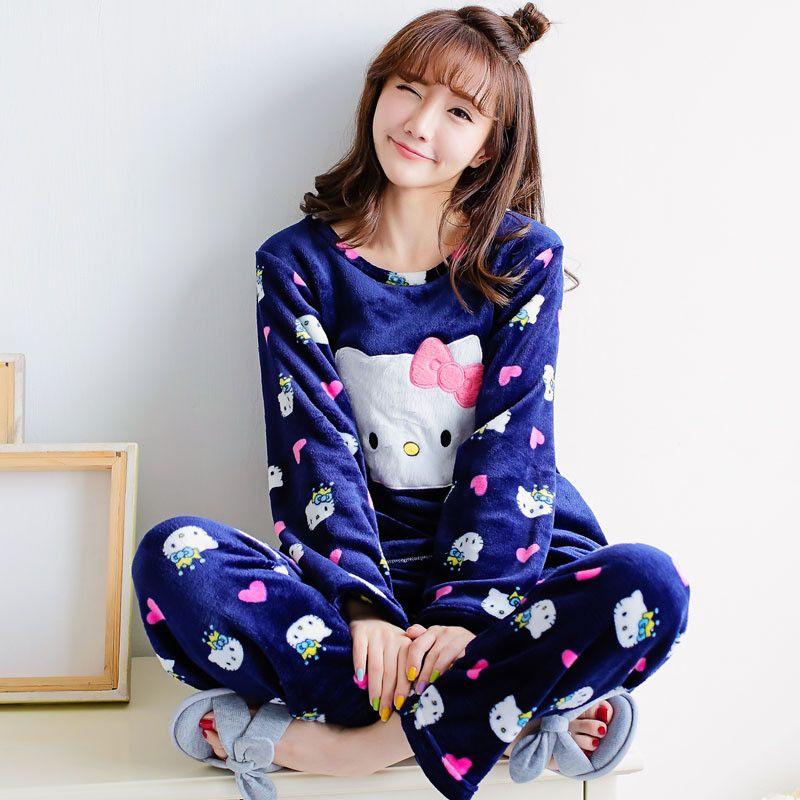 US $20.74 2016 Adult Hello Kitty Pajamas Flannel Pijama Feminino Winter Cartoon Pyjamas Women Thicken Pink Female Adult Hello Kitty Pajama aliexpress.com