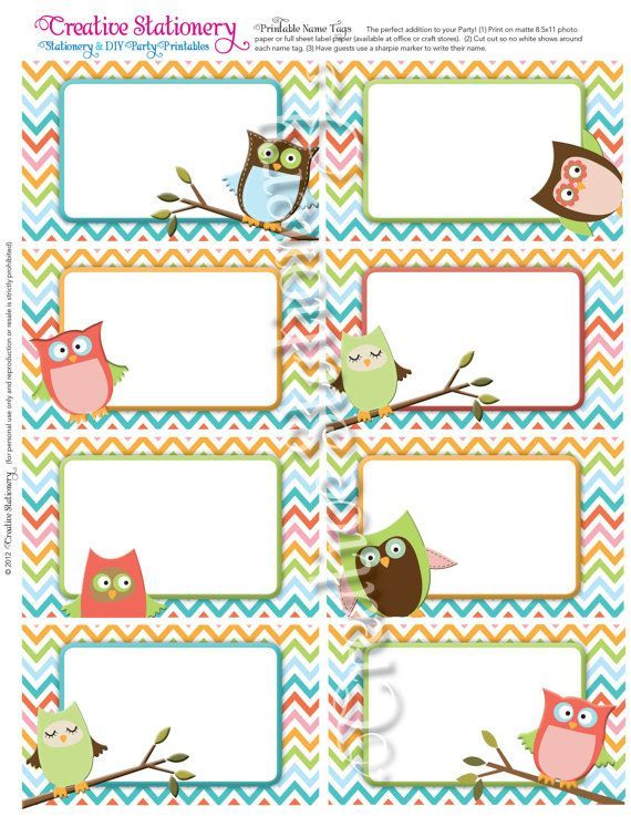 Printable owl name tags owl name tags printable owl owl for Locker tag templates