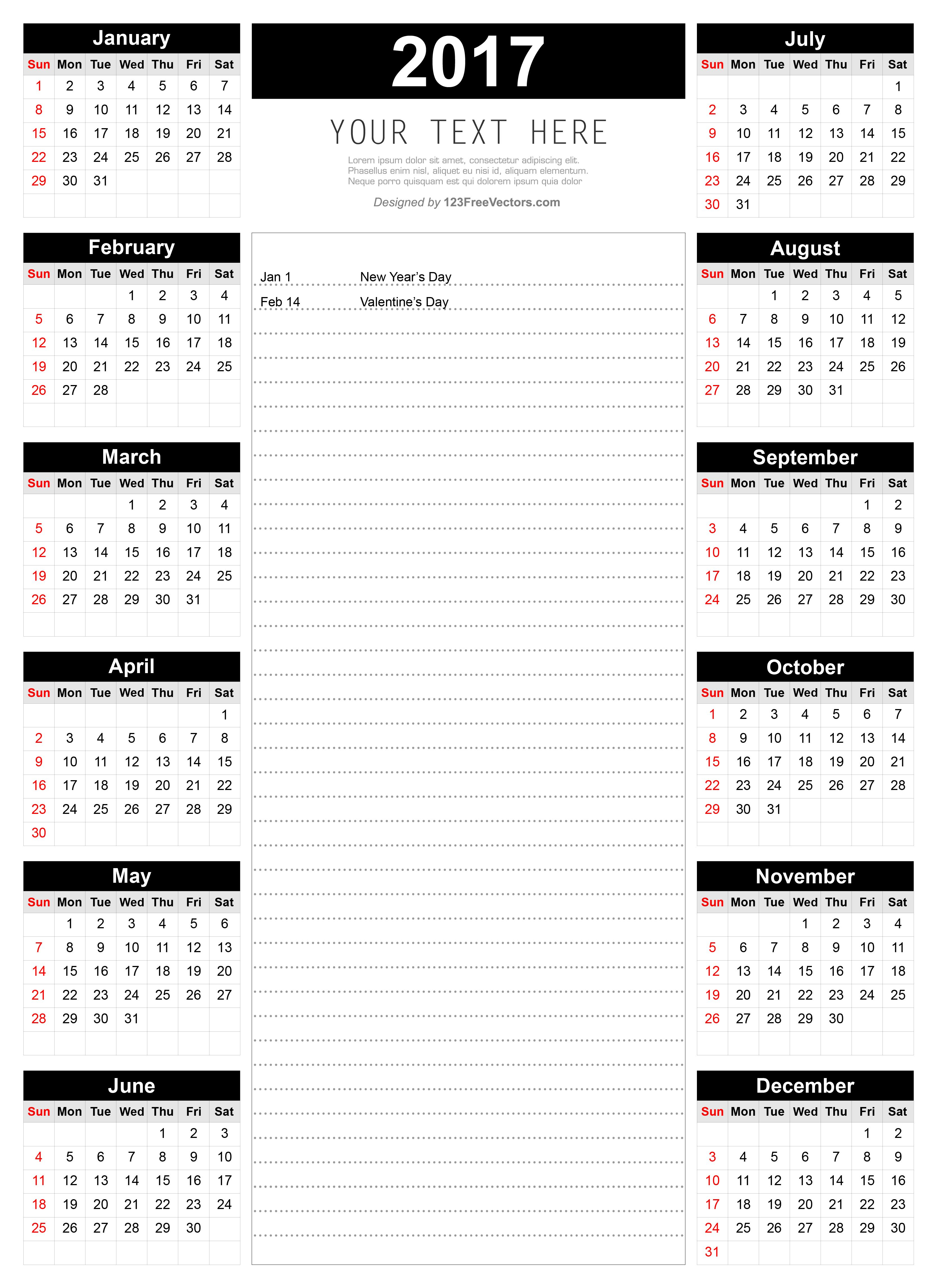printable 2017 calendar template with notes 2017 calendar