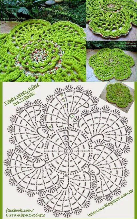 Alfombra verde crochet patron | CROCHET Y PUNTO | Pinterest ...