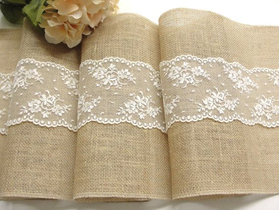 burlap table runner with dusty hay country lace table runner wedding linens rustic wedding. Black Bedroom Furniture Sets. Home Design Ideas