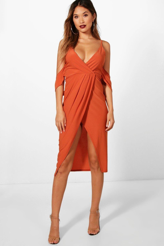 Asos Wedding Drape Cold Shoulder Mini Dress in Beige (Nude