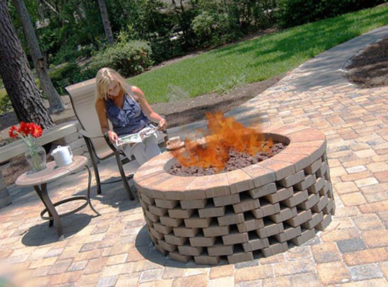 Brick fire pit ring fire pit ideas pinterest fire for Brick fire pit construction