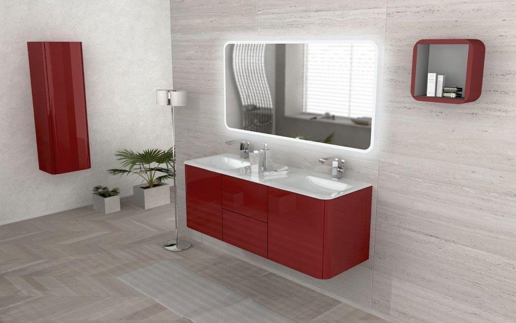 Mobile bagno live doppio lavabo arredo sospeso in più colori