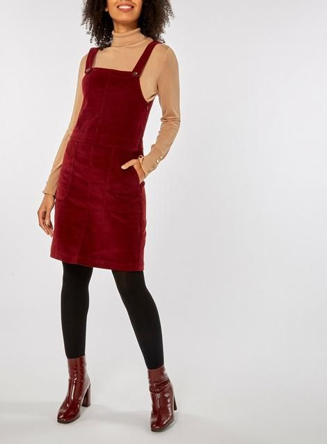 46be9c0daf1 Womens Berry Red Corduroy Pinafore Dress- Red