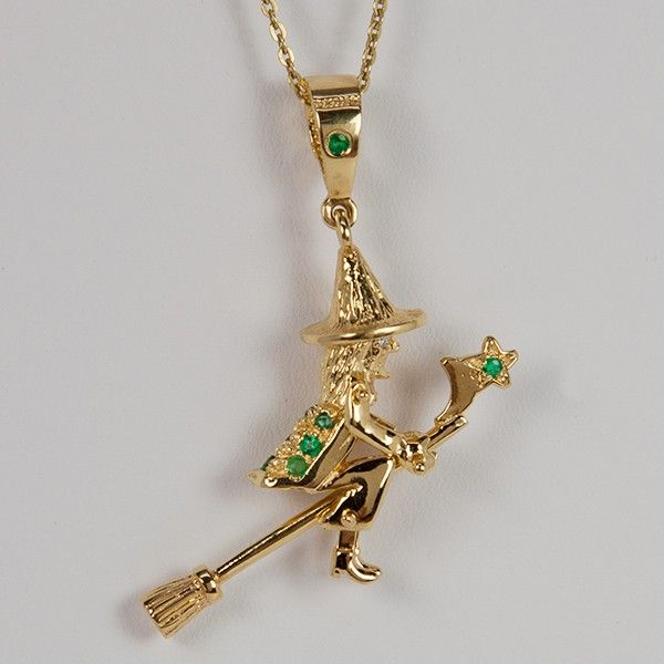 Large gold vermeil and emerald witch pendant made in and large gold vermeil and emerald witch pendant made in and popularized by the town of benevento in southern italy the town of benevento which means good aloadofball Gallery
