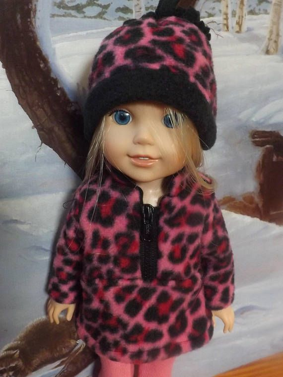 4ff64a942 14.5 inch doll clothes, Pink and Black leopard print jacket, hat ...