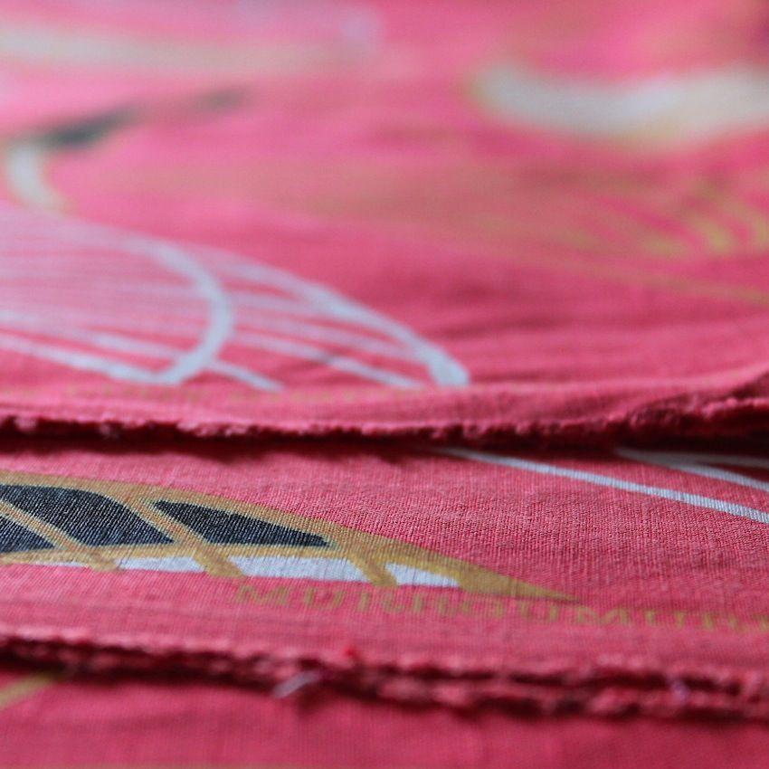 Detail of Murrgumurrgu (ibis print) in Red Sky colourway by Gaawaa Miyay