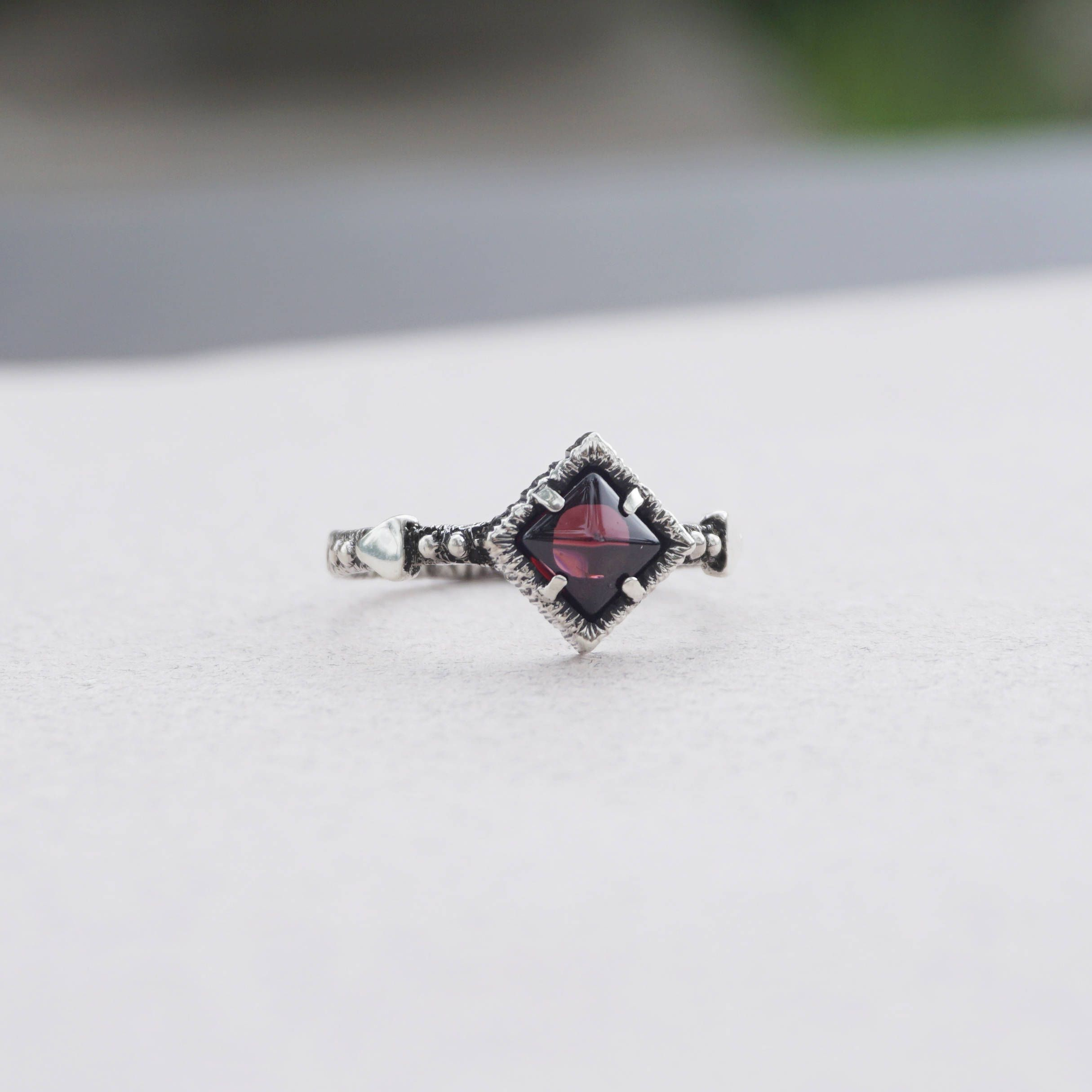 for womens gift red silver rings sterling pyramid stone her thin pin garnet ring