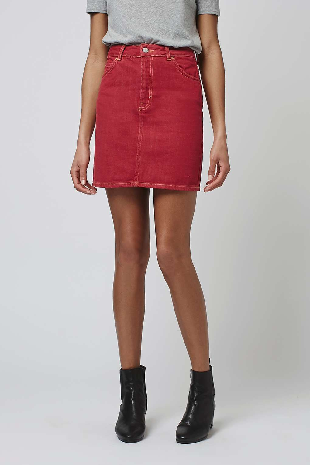 MOTO Red Denim Mini Skirt | Denim mini skirt, Mini skirts and Minis