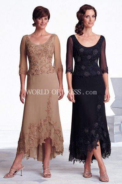 Burnt Orange Mother of the Groom Dresses Tea Length
