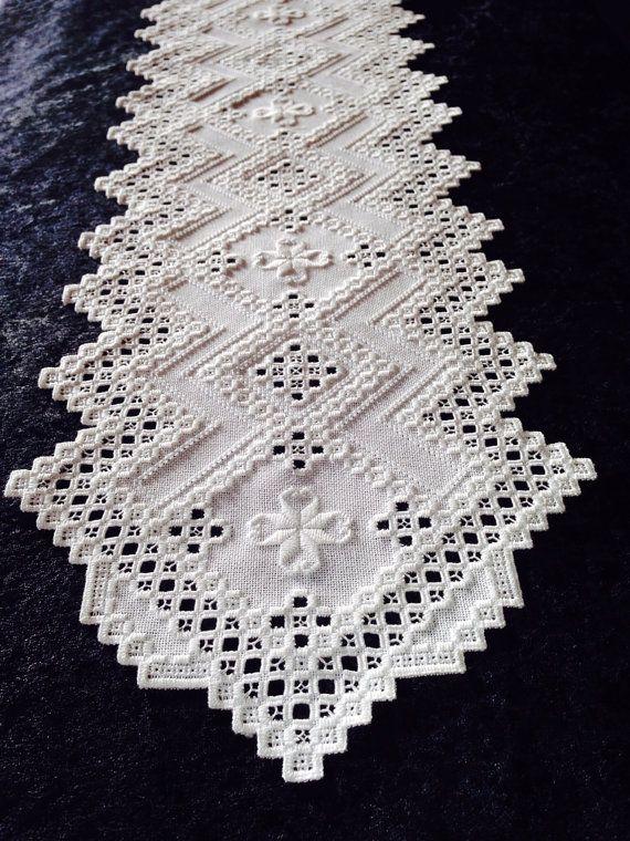 Hardanger+Table+Runner+White+on+White++by+norwegianneedle+on+Etsy,+$185.00