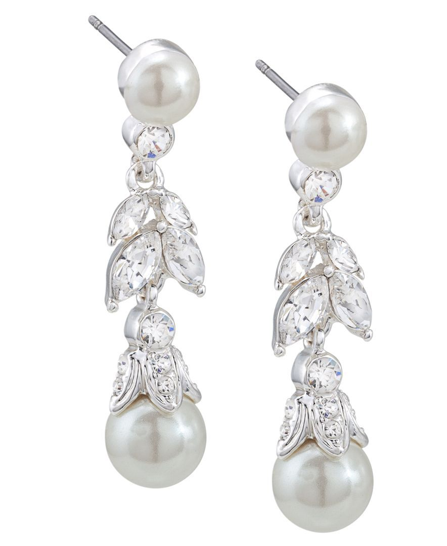 lyst product earrings gold tone gallery carolee watches chandelier pear pave metallic in jewelry