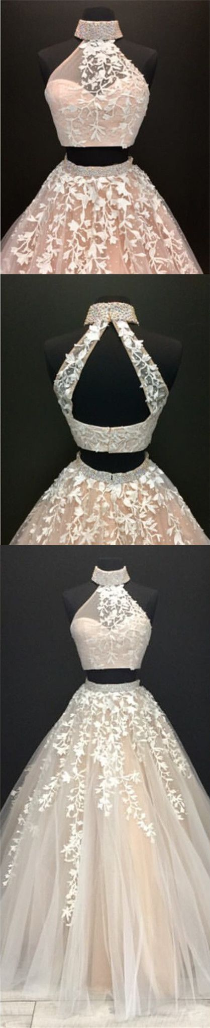 New arrival prom dresshigh neck open back lace embroidery ball