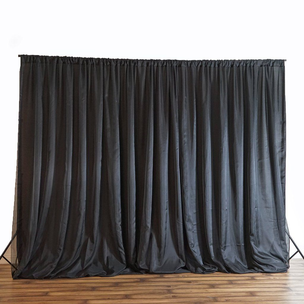 20ft X 8ft Black Chic Inspired Backdrop Curtain Fabric Backdrop