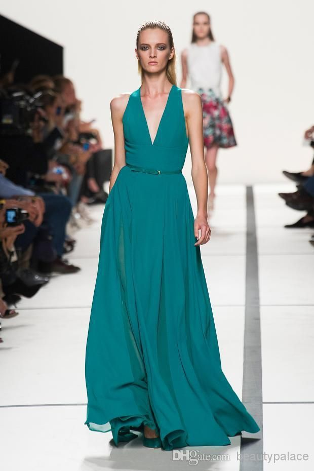 Wholesale Evening Dresses - Buy 2014 Elie Saab A Line Floor Length Hunter Green Chiffon Halter Evening Dresses V-neck Formal Evening Gowns Cheap Long Party Dresses, $99.41 | DHgate