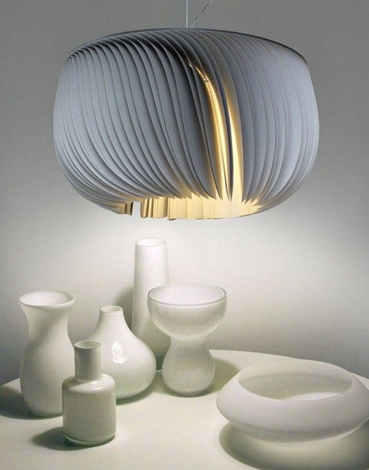 MOONJELLY LAMPS BY LIMPALUX Seen Show, Fan Shaped Pendant Lamps With Blades  Made Of FSC Paper (at Least Of The Fiber Comes From Sustainable Forests). Great Pictures