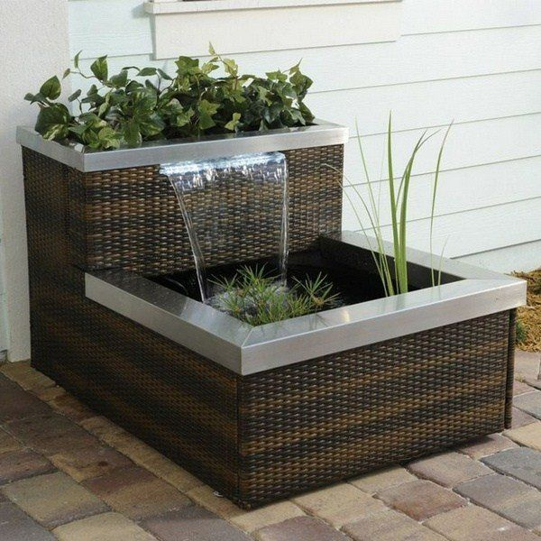 Mini pond balcony rattan design waterfall modern balcony decor - wasserfall im garten modern
