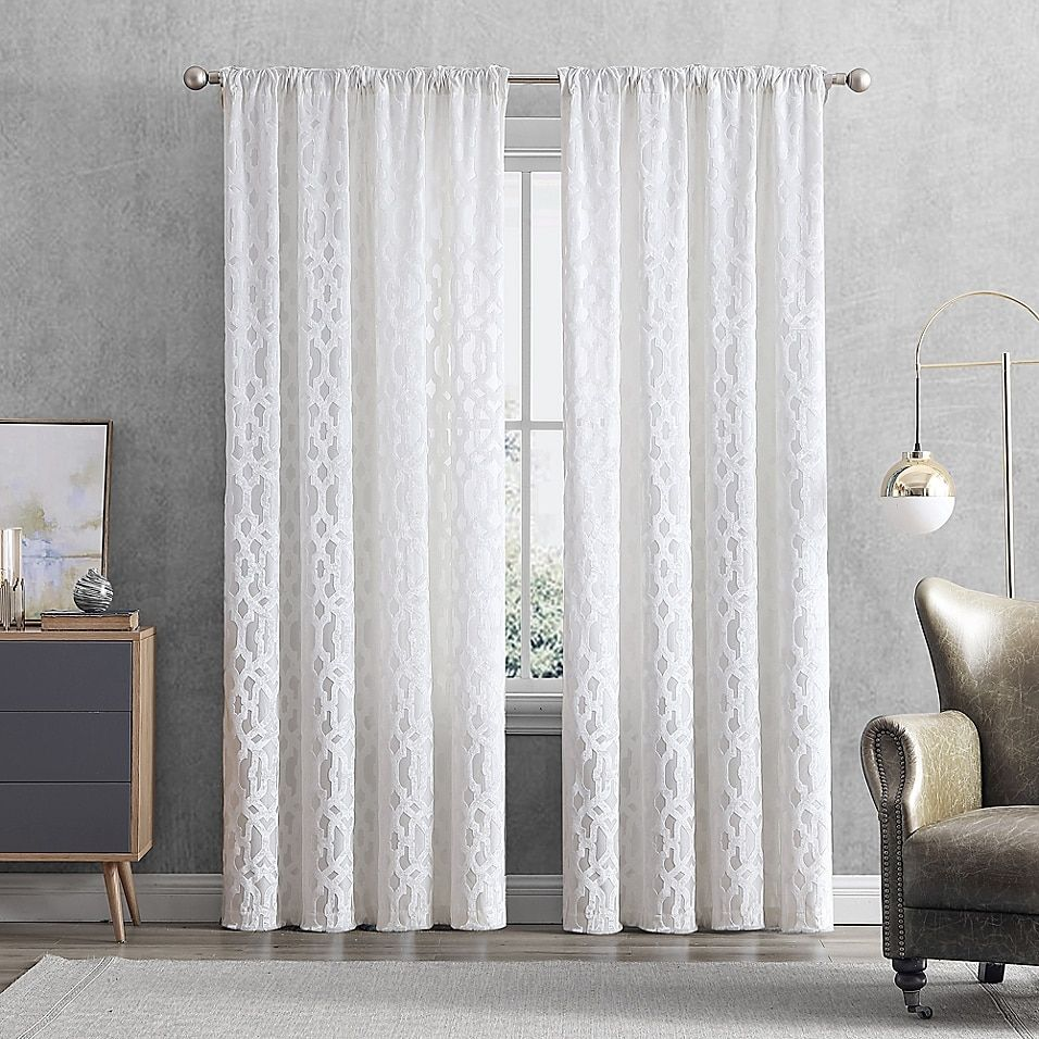 Claremont 84 Rod Pocket Back Tab Window Curtain Panel In White In