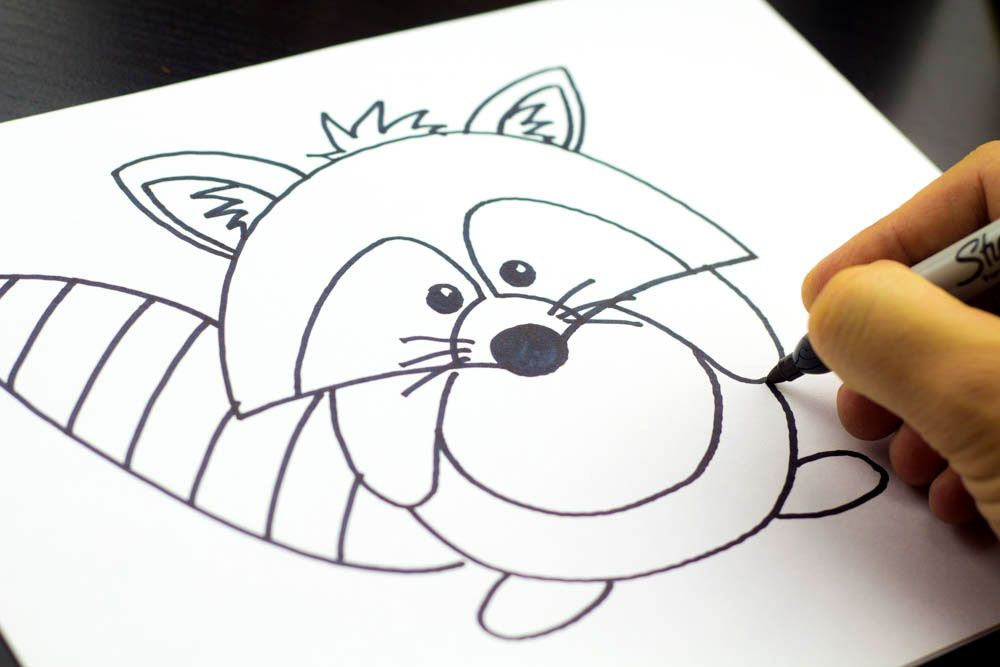 How to draw a raccoon cartoon art for kids hub for Cool things to draw with markers