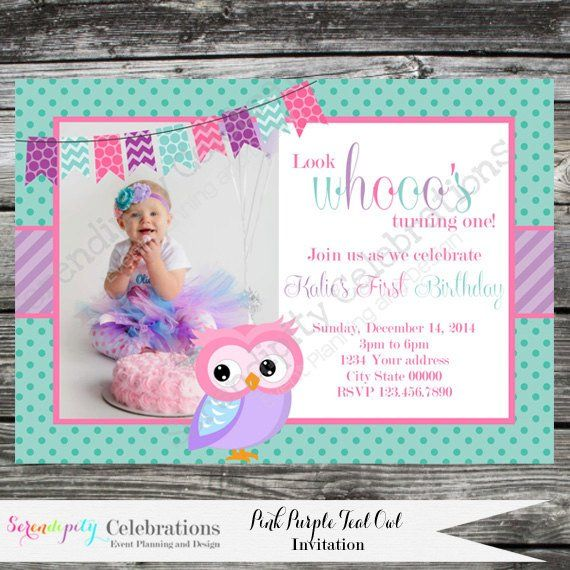 Diy Personalized Invitation Pink Purple Teal Owl Digital