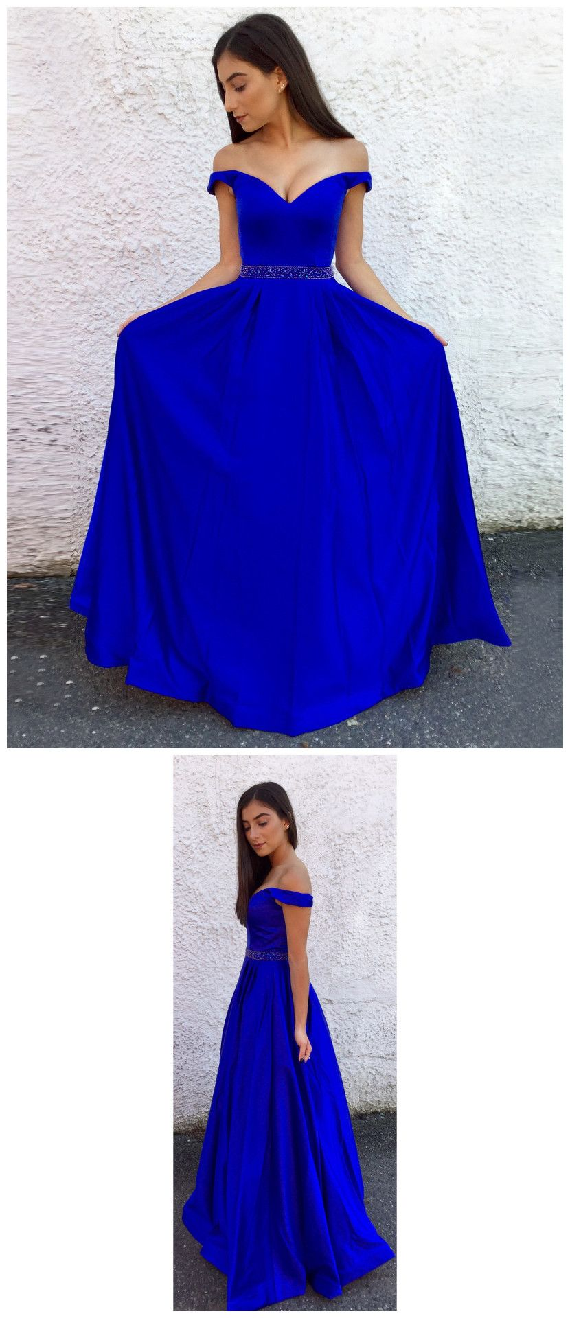 royal blue long prom dresses offtheshoulder aline cheap prom