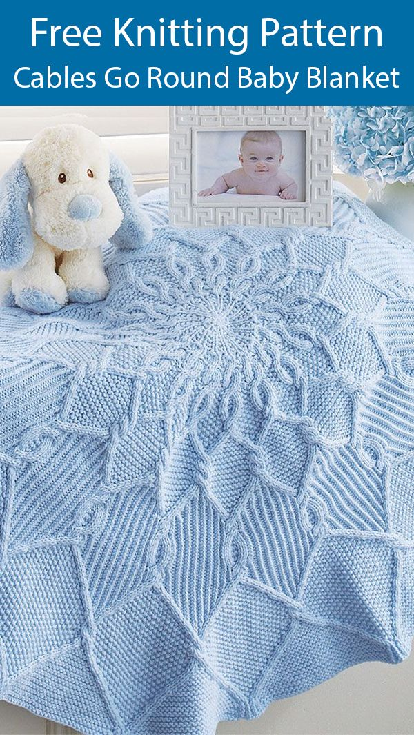 Photo of Free Knitting Pattern for Cables Go Round Baby Blanket