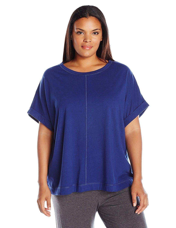b6822ce2a2540 Women s Plus Size Jersey Knit Lounge Top - Royal Blue - CC12OBVOFMW ...