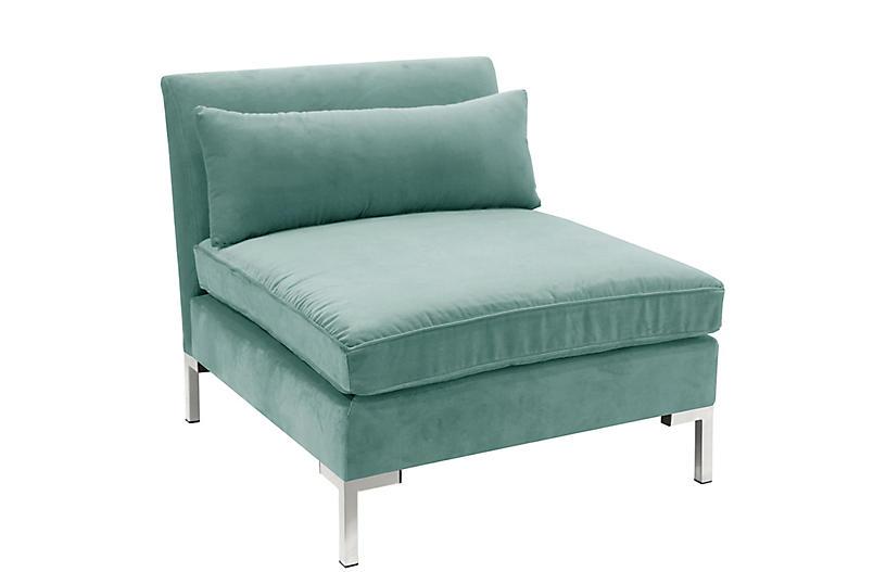 Best Marceau Slipper Chair Aqua Velvet Chair Blue Accent 640 x 480