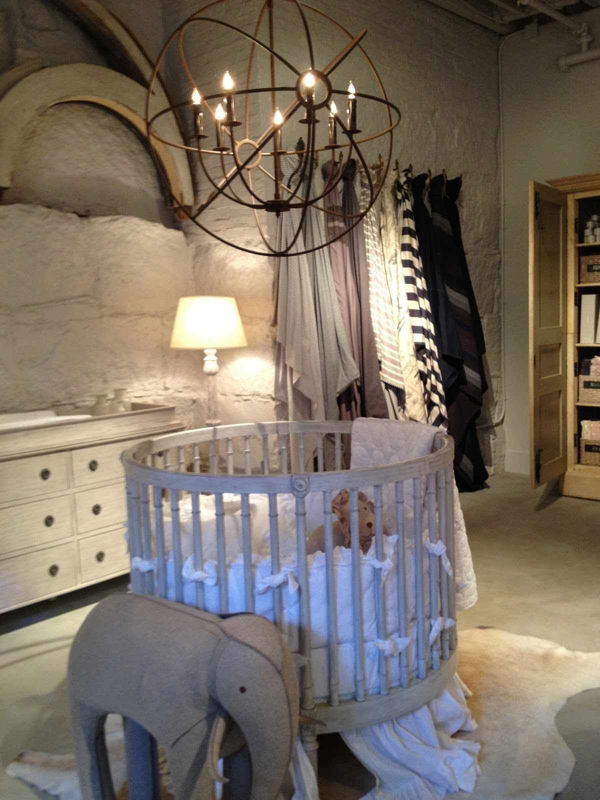 Ellery round crib for sale - Luxury Dimgray Baby Cribs Warm Home Room Designed Unique Textured Grey Wall White Skirted Round Crib