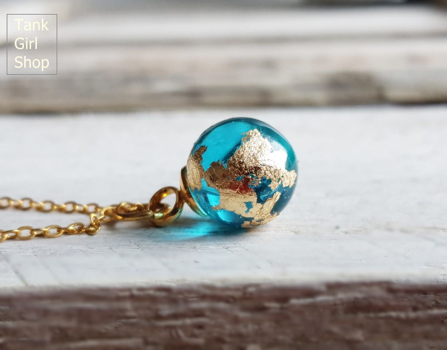 "Photo of Necklace Mini Earth globe,golden Necklace,minimalistic Necklace,tender Necklace ""blue planet"" hand-gilded 14K"