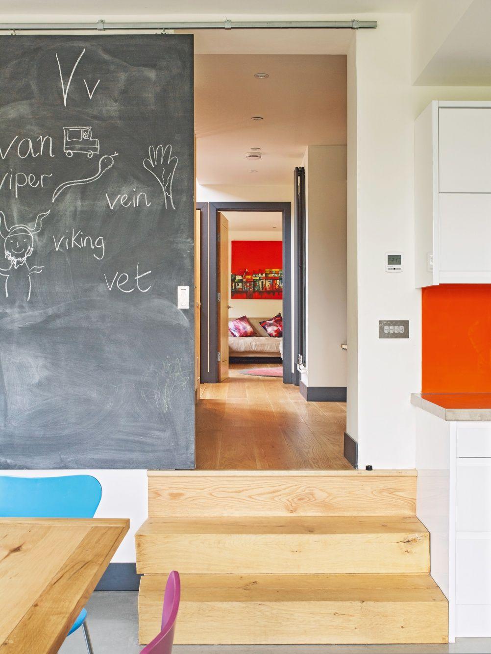 Blackboard painted sliding door from kitchen diy pinterest