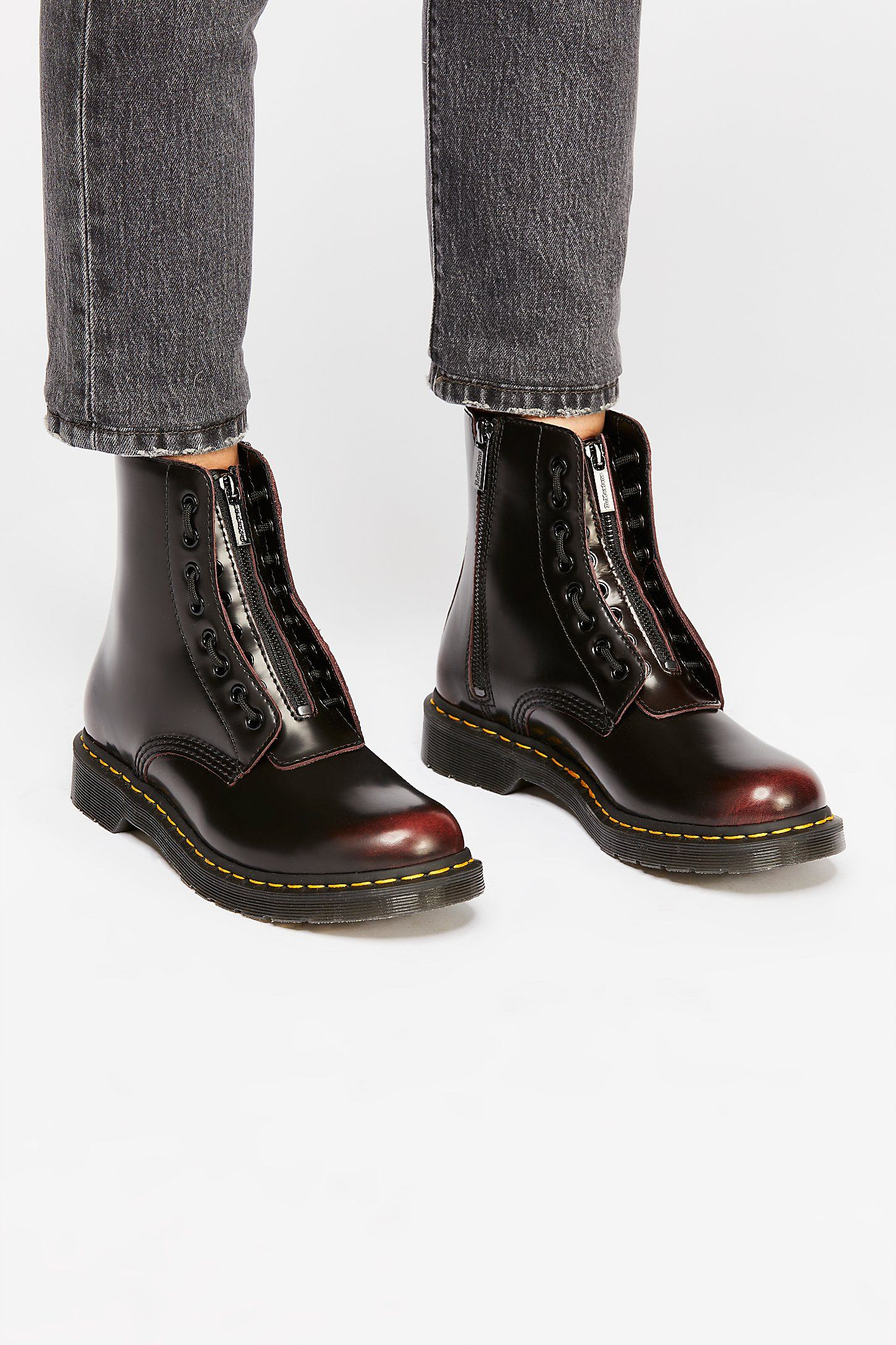 Dr Martens Dr Martens 1460 Pascal Removable Front Zip 8 Eyelet Boots Cherry Red