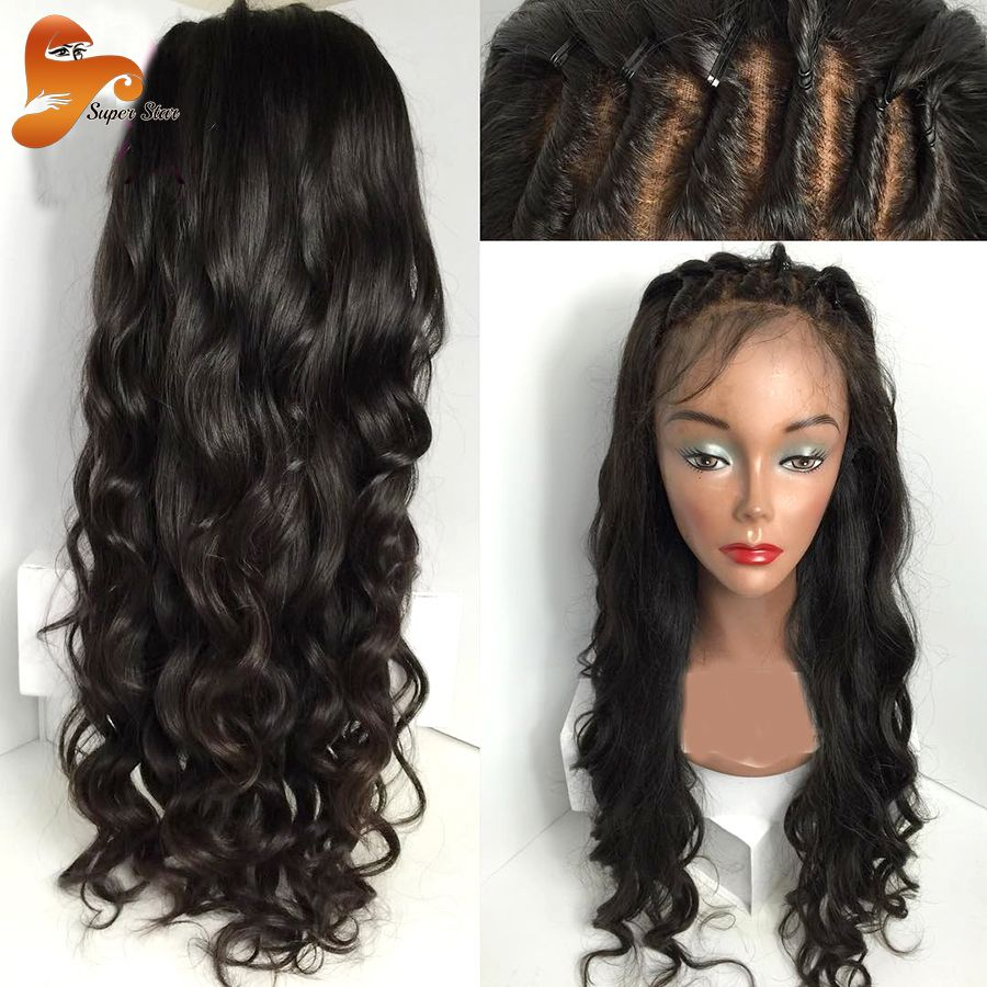 A glueless lace front human hair wigs for black women wet and wavy