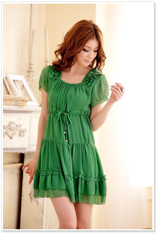 JK3406 Green Korean Fashion Dress Short Sleeve Malaysia Online Shopping 48a6044e2d