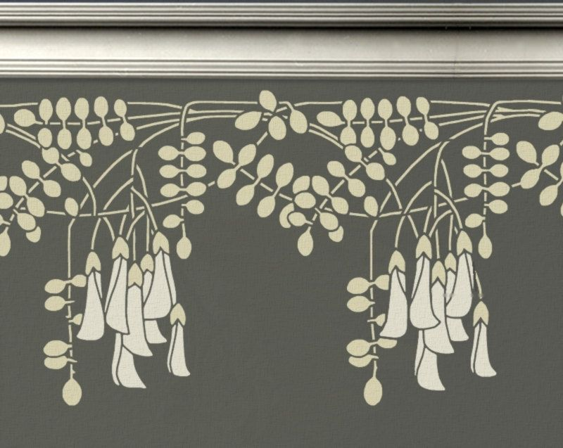 Stencil Art For Walls stencil for walls - border black locust flowers - reusable wall