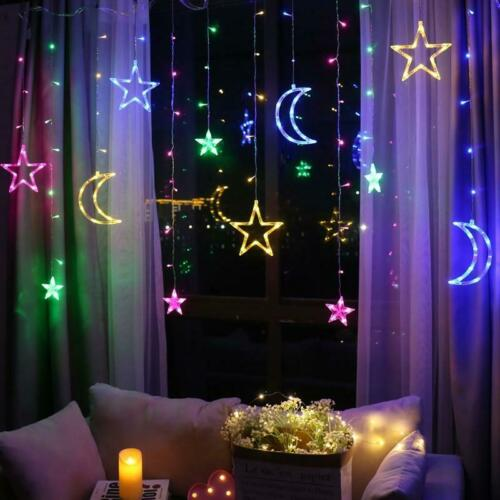 Beautiful Led Moon And Stars Fairy Curtain Lights Ebay In 2020 Decorating With Christmas Lights Star Lamp Curtain Lights