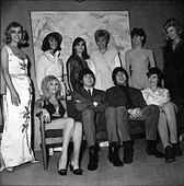 Beatles files 1965 John Paul backstage with show girls during Music of Lennon McCartney tv spectacular - Stock Photo