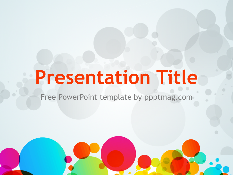This free Colored Circles PowerPoint Template has a gray background ...