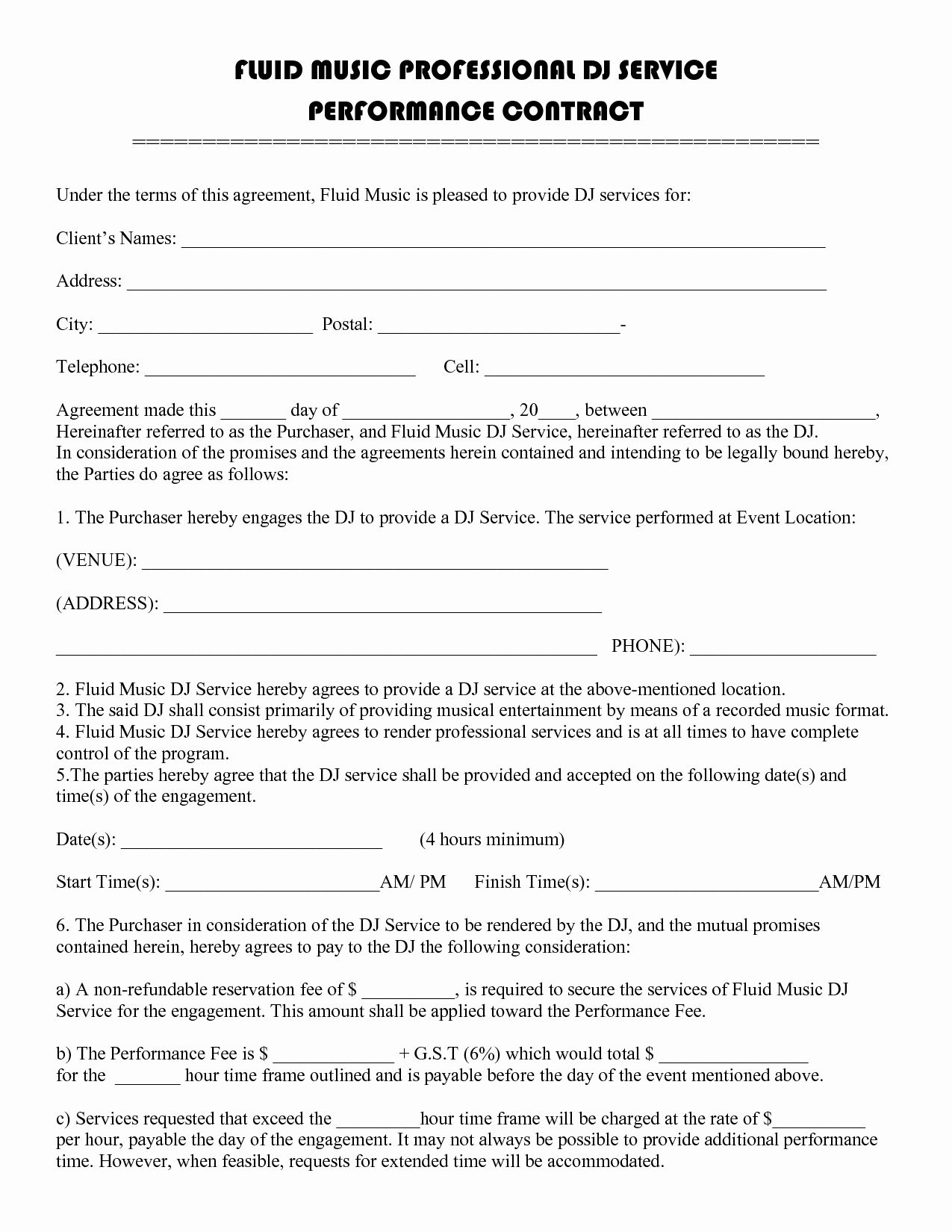 Artist Performance Contract Template in 2020 Contract