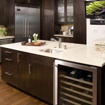 Kitchen Designers Seattle Glamorous Wine Coolerespresso Cabinets White Quartz Countertop I Love The Design Ideas