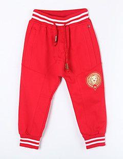 Pantalones Chica de-Casual/Diario-Un Color-Algodón-Otoño-Rojo / Blanco